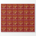 "[ Thumbnail: Red, Imitation Gold Look ""79th Birthday"" Wrapping Paper ]"