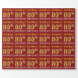 "[ Thumbnail: Red, Imitation Gold Look ""80th Birthday"" Wrapping Paper ]"