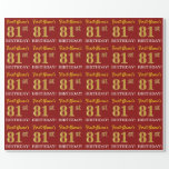 "[ Thumbnail: Red, Imitation Gold Look ""81st Birthday"" Wrapping Paper ]"
