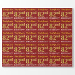 "[ Thumbnail: Red, Imitation Gold Look ""82nd Birthday"" Wrapping Paper ]"