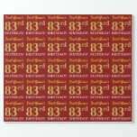 "[ Thumbnail: Red, Imitation Gold Look ""83rd Birthday"" Wrapping Paper ]"