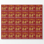 "[ Thumbnail: Red, Imitation Gold Look ""84th Birthday"" Wrapping Paper ]"