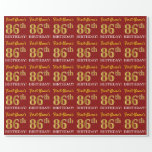 "[ Thumbnail: Red, Imitation Gold Look ""86th Birthday"" Wrapping Paper ]"