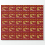 "[ Thumbnail: Red, Imitation Gold Look ""87th Birthday"" Wrapping Paper ]"