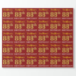 "[ Thumbnail: Red, Imitation Gold Look ""88th Birthday"" Wrapping Paper ]"