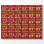 "[ Thumbnail: Red, Imitation Gold Look ""89th Birthday"" Wrapping Paper ]"