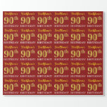 "[ Thumbnail: Red, Imitation Gold Look ""90th Birthday"" Wrapping Paper ]"