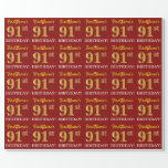 "[ Thumbnail: Red, Imitation Gold Look ""91st Birthday"" Wrapping Paper ]"