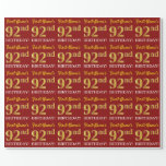 "[ Thumbnail: Red, Imitation Gold Look ""92nd Birthday"" Wrapping Paper ]"