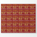 """[ Thumbnail: Red, Imitation Gold Look """"93rd Birthday"""" Wrapping Paper ]"""