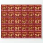 """[ Thumbnail: Red, Imitation Gold Look """"94th Birthday"""" Wrapping Paper ]"""
