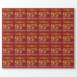 """[ Thumbnail: Red, Imitation Gold Look """"95th Birthday"""" Wrapping Paper ]"""