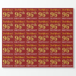"""[ Thumbnail: Red, Imitation Gold Look """"96th Birthday"""" Wrapping Paper ]"""