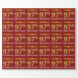 """[ Thumbnail: Red, Imitation Gold Look """"97th Birthday"""" Wrapping Paper ]"""
