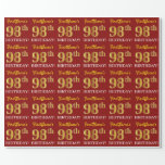 """[ Thumbnail: Red, Imitation Gold Look """"98th Birthday"""" Wrapping Paper ]"""