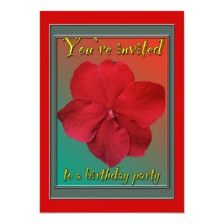 Red Impatiens Birthday Party Invitation