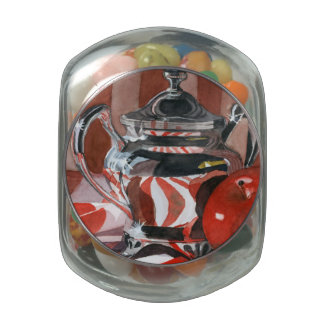 Red in Silver Reflections Jelly Belly Candy Jars