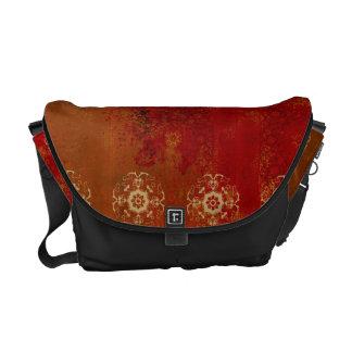 red india pattern black messenger bag