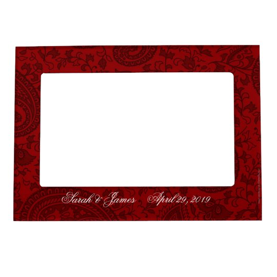 Red indian damask magnetic photo frame