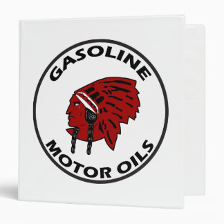 Red Indian Gasoline vintage sign. Flat version Binder
