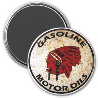 Red Indian Gasoline vintage sign rusted vers. 3 Inch Round Magnet