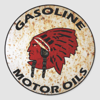Red Indian Gasoline vintage sign rusted vers. Classic Round Sticker