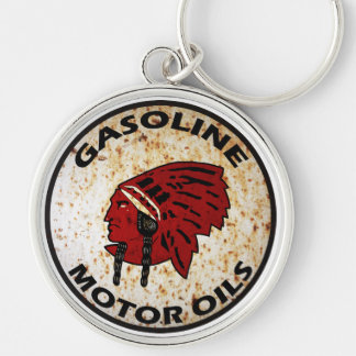 Red Indian Gasoline vintage sign rusted vers. Keychain