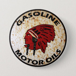 Red Indian Gasoline vintage sign rusted vers. Pinback Button
