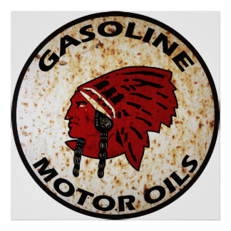 Red Indian Gasoline vintage sign rusted vers. Poster