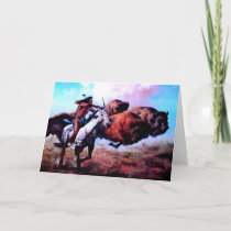 RED INDIAN HUNTING BUFFALO HOLIDAY CARD