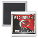 Red Indian Motor Oil sign rusted vers. 2 Inch Square Magnet