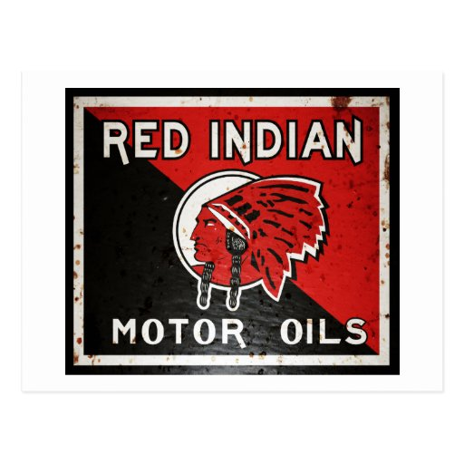 Red Indian Motor Oil sign rusted vers. Postcard