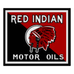 Red Indian Motor Oil vintage sign flat vers. Print
