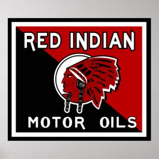 Red Indian Motor Oil vintage sign flat vers. Print