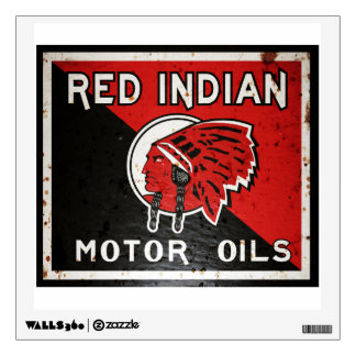 Red Indian Motor Oil vintage sign rusted version Wall Sticker