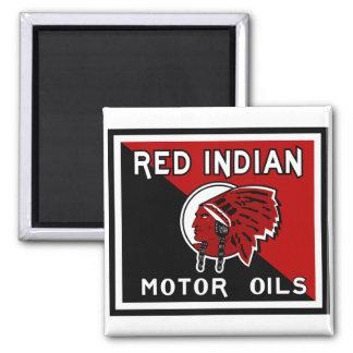 Red Indian Motor Oils vintage sign 2 Inch Square Magnet