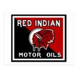 Red Indian Motor Oils vintage sign Postcard