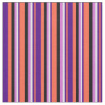 [ Thumbnail: Red, Indigo, Lavender, Orchid & Black Lines Fabric ]
