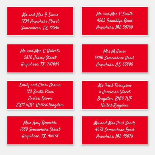 Red Individual Recipient Name Address Shipping Sticker