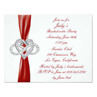 Red Infinity Heart Bachelorette Party Invitation