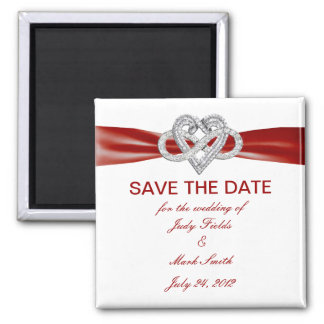Red Infinity Heart Save The Date Magnet Refrigerator Magnets