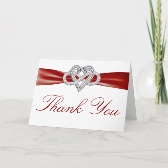 red infinity heart thank you card  zazzle