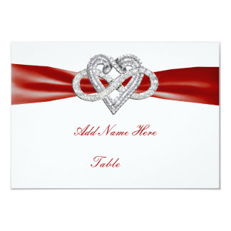 Red Infinity Heart Wedding Table Place Card Personalized Invites