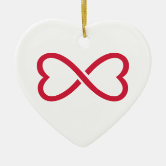 Red infinity love hearts ornaments