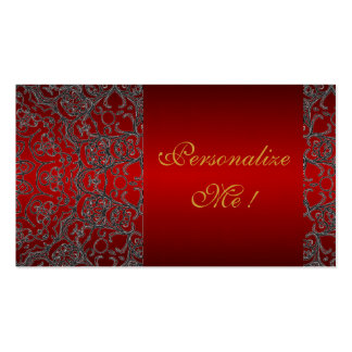 Red Initial Girly Elegant Trendy Black Modern Lace Business Cards