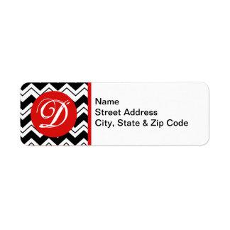 Red Initial Monogram Black & White Zizzag Chevron Label