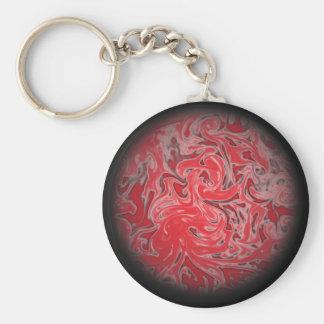 Red Ink Globe Basic Round Button Keychain