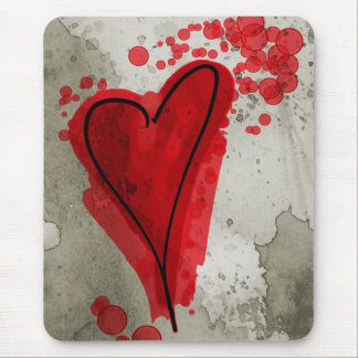 Red Inky Heart Mouse Pad