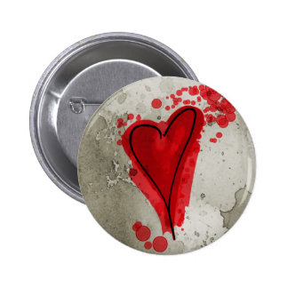 Red Inky Heart Pinback Button