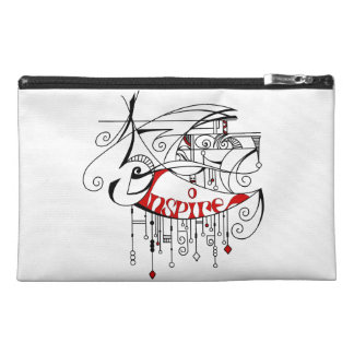 Red Inspire In Lines and Dangles Travel Accessory Bag